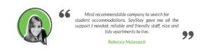 SayStay Student Accommodation Testimonial - Rebecca