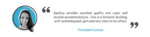 SayStay Student Accommodation Testimonial - Francione